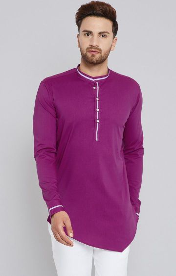 SEE DESIGNS   Purple Solid Kurta