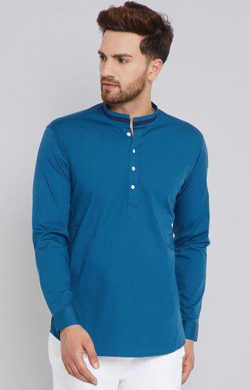 SEE DESIGNS   Blue Solid Short Kurta