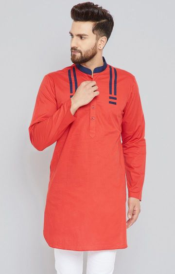 SEE DESIGNS | Red Solid Kurta
