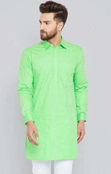 SEE DESIGNS | Green Solid Kurta
