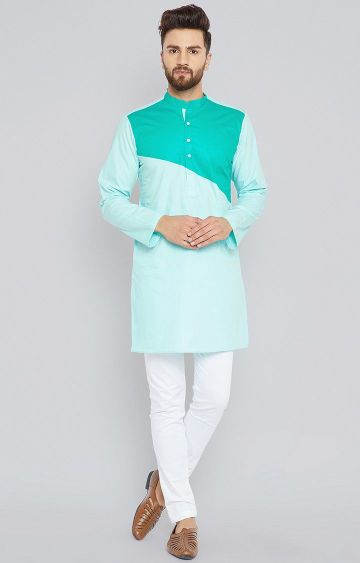 SEE DESIGNS | Turquoise Colourblock Kurta Set