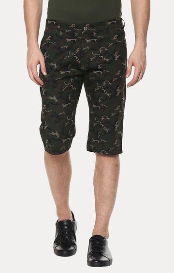 Crimsoune Club | Green and Brown Printed Shorts