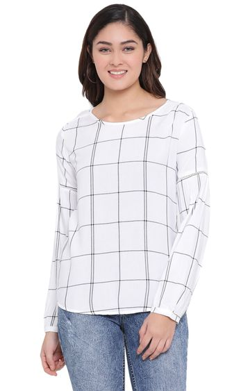 Crimsoune Club | White Checked Top