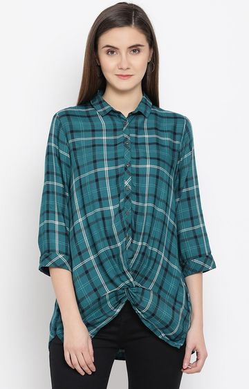 Crimsoune Club | Green Checked Casual Shirt
