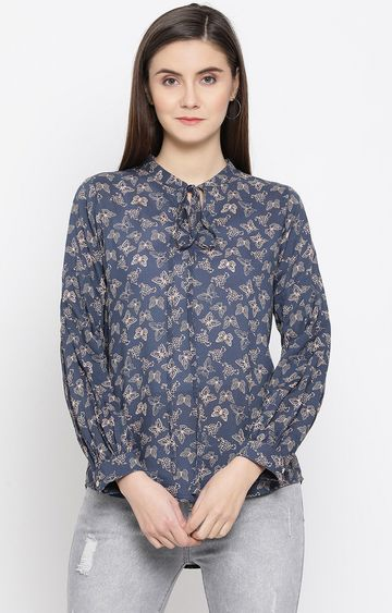 Crimsoune Club | Blue Printed Top