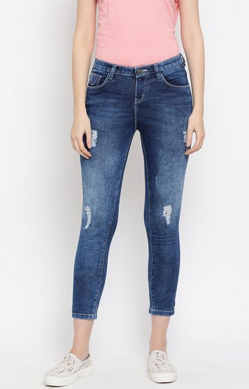 Crimsoune Club | Blue Solid Cropped Ripped Jeans