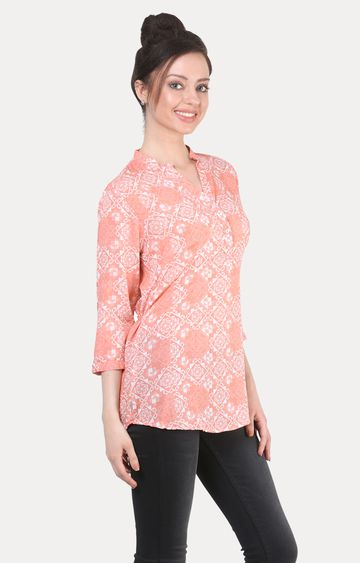 Crimsoune Club | Peach Printed Tunic