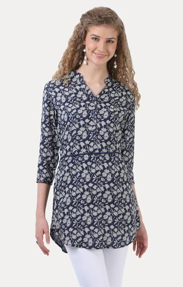 Crimsoune Club | Navy Floral Tunic