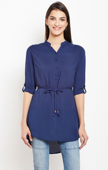 Crimsoune Club | Blue Solid Tunic