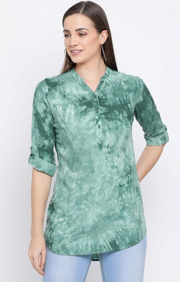 Crimsoune Club | Green Printed Top