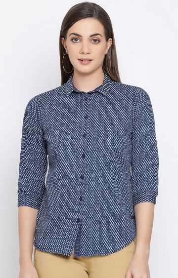 Crimsoune Club   Navy Printed Casual Shirt