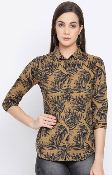 Crimsoune Club | Khaki Printed Casual Shirt
