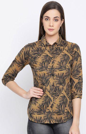 Crimsoune Club | Khaki Printed Casual Shirt