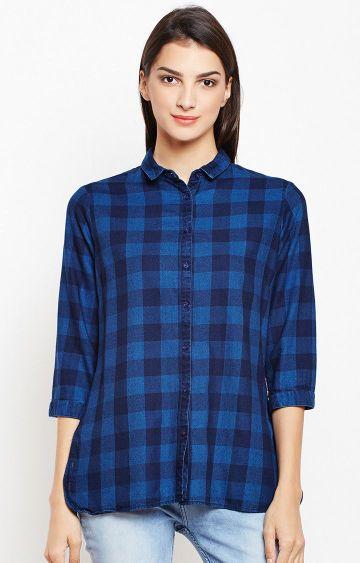 Crimsoune Club | Blue Checked Casual Shirt