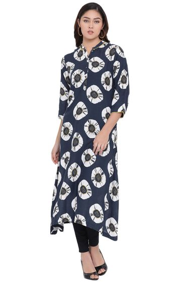 Crimsoune Club | Blue Printed Asymmetric Kurta