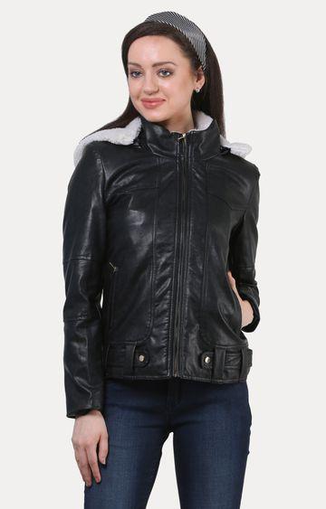 Crimsoune Club | Black Solid Leather Jacket