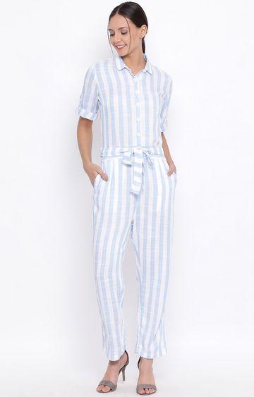 Crimsoune Club   Blue Striped Jumpsuit