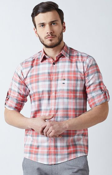 Crimsoune Club | Peach and Grey Checked Casual Shirt
