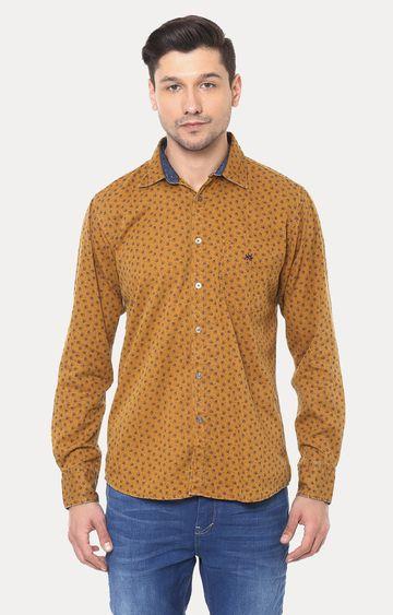 Crimsoune Club | Mustard Printed Casual Shirt
