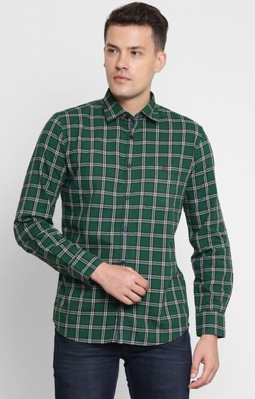 Crimsoune Club | Dark Green Checked Casual Shirt