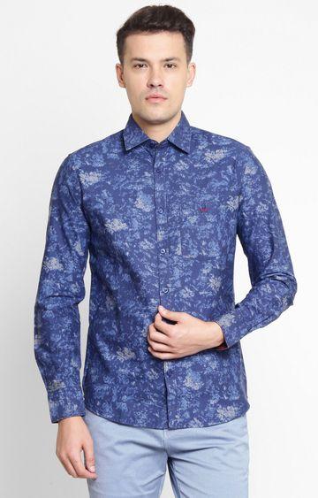 Crimsoune Club | Navy Blue Printed Casual Shirt