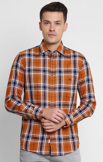 Crimsoune Club | Orange Checked Casual Shirt