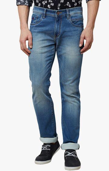 Crimsoune Club | Blue Solid Straight Jeans