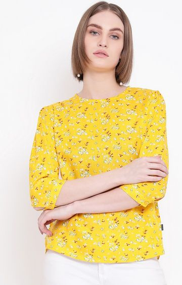 Crimsoune Club | Yellow Printed Top