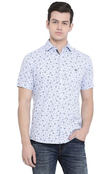 Crimsoune Club | Light Blue Printed Casual Shirt