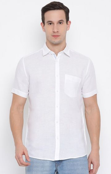 Crimsoune Club | White Solid Casual Shirt