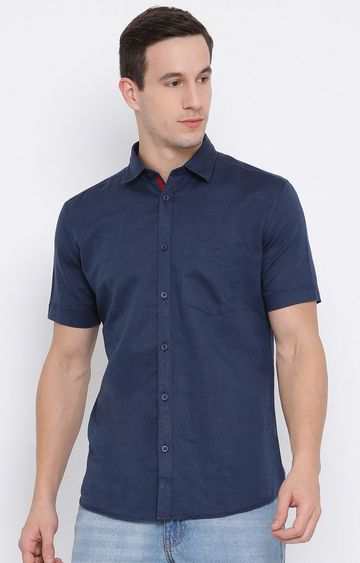 Crimsoune Club | Blue Solid Casual Shirt