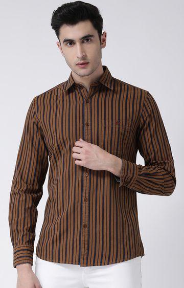 Crimsoune Club | Brown Striped Casual Shirt