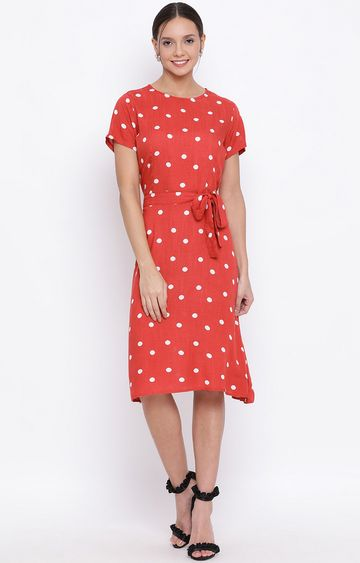 Crimsoune Club   Red Printed Shift Dress
