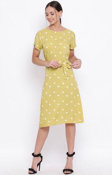 Crimsoune Club | Yellow Printed Shift Dress