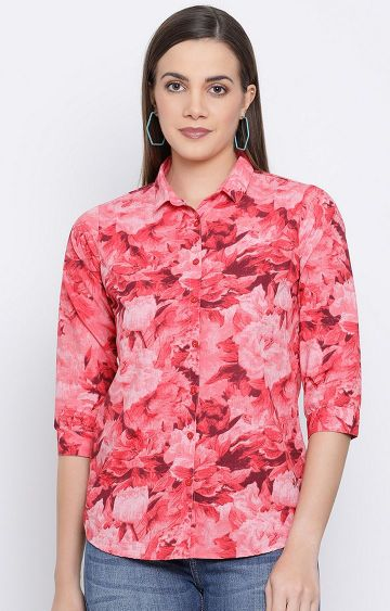 Crimsoune Club | Red Floral Casual Shirt