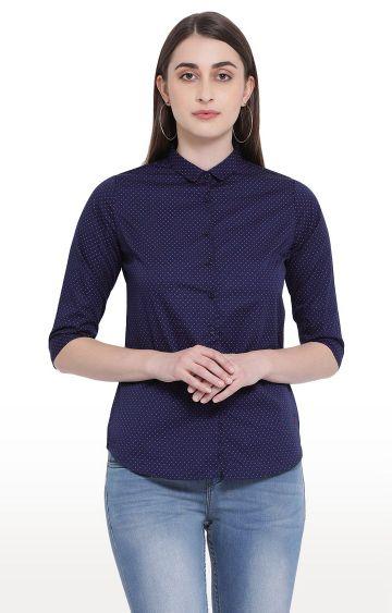 Crimsoune Club | Dark Blue Printed Casual Shirt