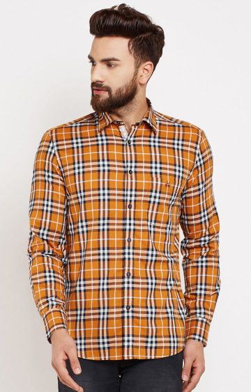 Crimsoune Club | Mustard Checked Casual Shirt