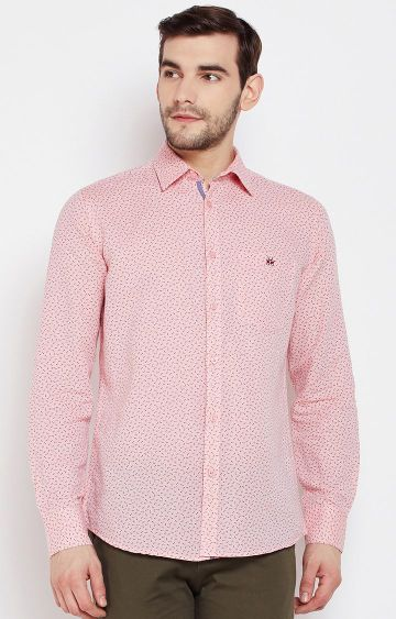 Crimsoune Club | Pink Printed Casual Shirt