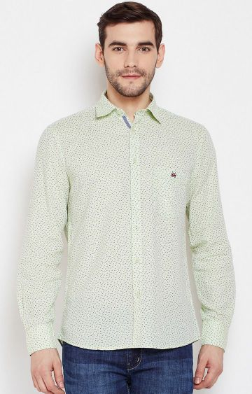Crimsoune Club | Green Printed Casual Shirt