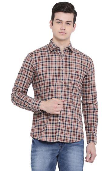 Crimsoune Club   Beige Checked Casual Shirt