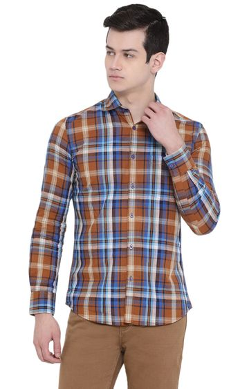 Crimsoune Club   Yellow and Blue Checked Casual Shirt