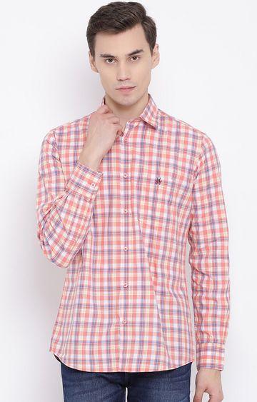 Crimsoune Club | Peach Checked Casual Shirt