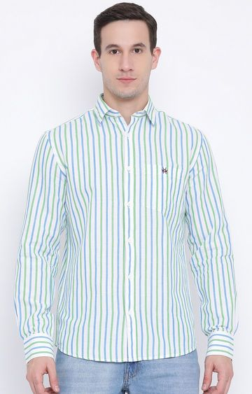 Crimsoune Club | Green and Blue Striped Casual Shirt
