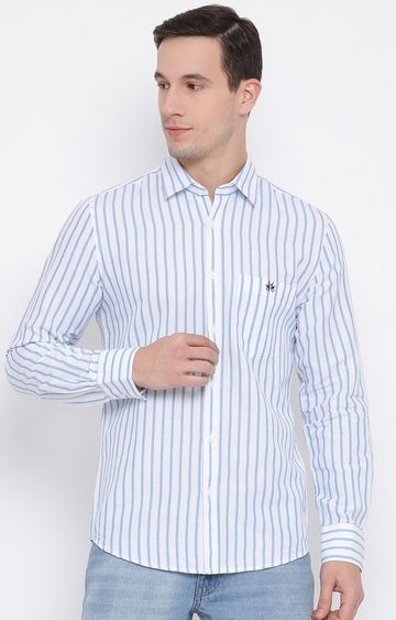 Crimsoune Club | Blue Striped Casual Shirt
