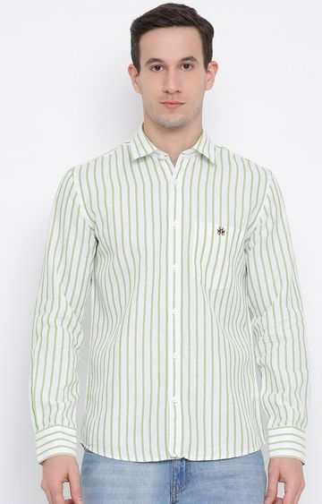 Crimsoune Club | Green Striped Casual Shirt