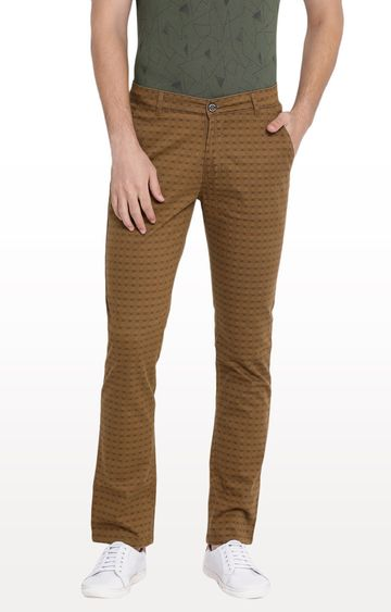 Crimsoune Club | Brown Checked Straight Chinos