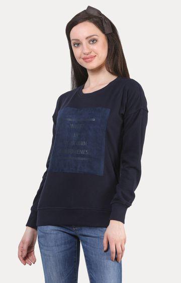 Crimsoune Club | Navy Blue Printed Sweatshirt