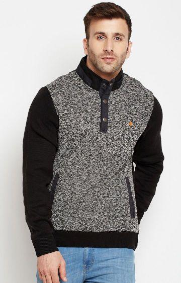 Crimsoune Club | Black and White Melange Sweatshirt