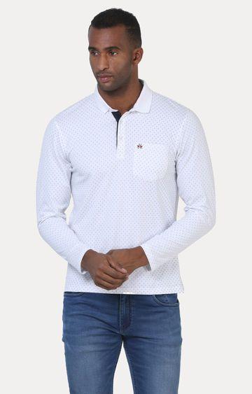 Crimsoune Club | White Printed Polo T-Shirt
