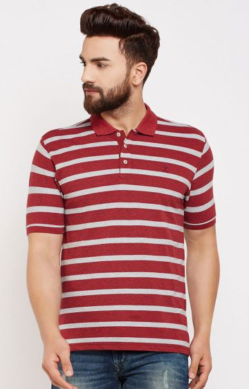 Crimsoune Club | Maroon Striped T-Shirt